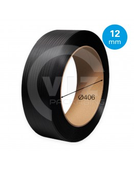 PP Strapping black 12mm/0.55mm/3000m Core 406mm