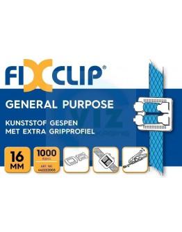 FIXCLIP kunststof gespen 16mm transparant, 1000 st.