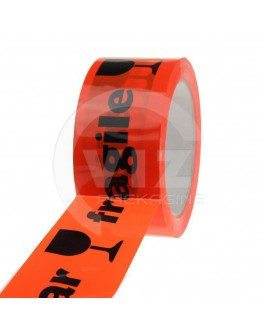PP acryl tape BREEKBAAR / FRAGILE fluor-orange 48mm/66m High-tack Low-noise