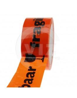 PP acrylic tape BREEKBAAR/FRAGILE oranje 48mm/66m High-tack Low-noise