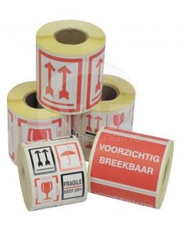 Etiket BREEKBAAR - FRAGILE - KEEP DRY - PIJL - GLAS 500 stuks per rol