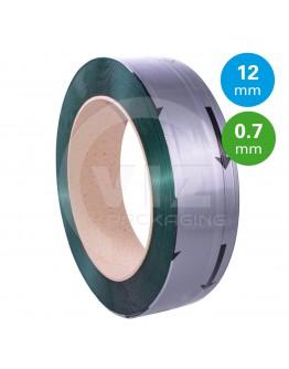 PET Band groen 12mm/0,7mm/2200m Gewafeld