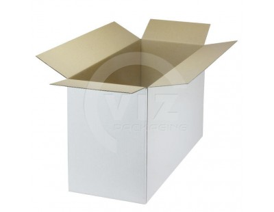 Cardboard box A Fefco-0201 white 533x215x320mm Cardboars, Boxes & Paper