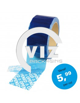 "Security Tape 50mm x 50mtr BLAUW tekst ""OPENED"""