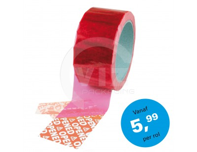 "Security Tape 50mm x 50mtr ROOD tekst ""OPENED"" Tape"