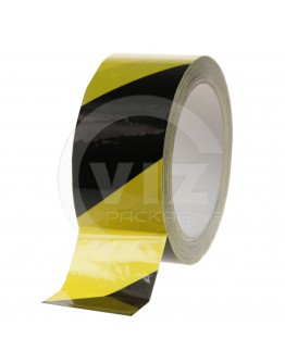 Floor marking tape 100my PVC yellow/black 50mm/33m