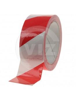 Floor marking tape 100my PVC red/white 50mm/33m