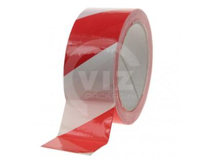 Floor marking tape 100my PVC red/white 50mm/33m Tape